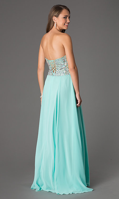 Image of Strapless Lace Up Gown Style: NA-8121 Back Image