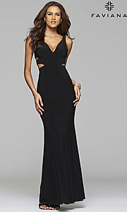 Image of long sleeveless v-neck side cut out dress Style: FA-7541 Detail Image 1