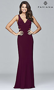 Image of long sleeveless v-neck side cut out dress Style: FA-7541 Detail Image 2