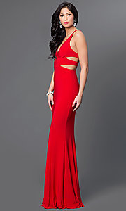 Image of long sleeveless v-neck side cut out dress Style: FA-7541 Detail Image 3