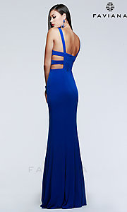 Image of long sleeveless v-neck side cut out dress Style: FA-7541 Back Image