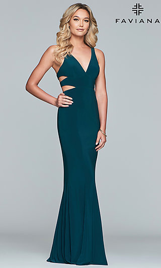 adf74305ac Long Faviana V-Neck Evening Dress