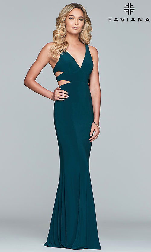 Image of long sleeveless v-neck side cut out dress Style: FA-7541 Detail Image 4
