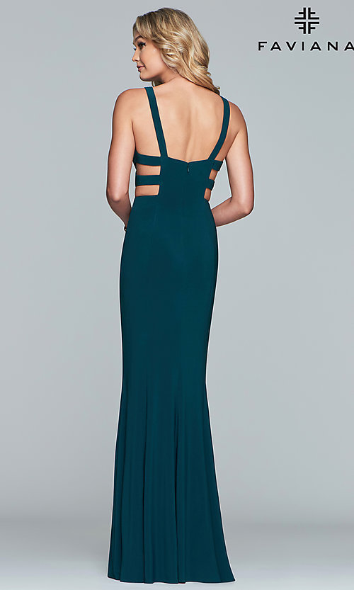 Image of long sleeveless v-neck side cut out dress Style: FA-7541 Detail Image 5