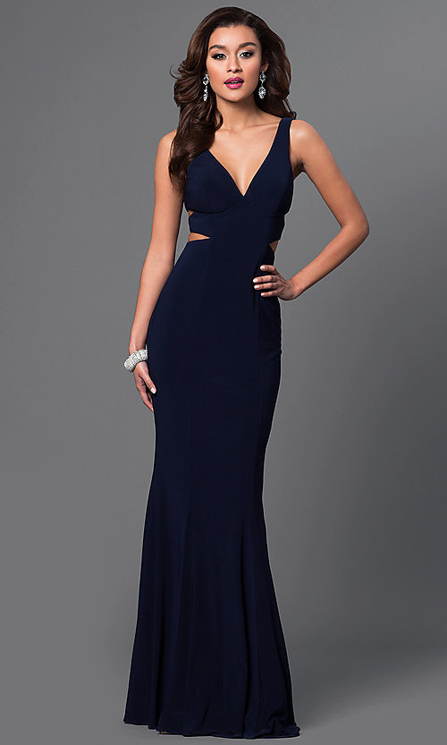 Image of long sleeveless v-neck side cut out dress Style: FA-7541 Front Image
