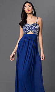 Image of Royal Blue floor length spaghetti strap empire waist beaded dress Style: BD-067e955 Front Image