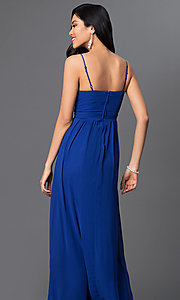 Image of Royal Blue floor length spaghetti strap empire waist beaded dress Style: BD-067e955 Back Image