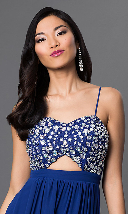 Image of Royal Blue floor length spaghetti strap empire waist beaded dress Style: BD-067e955 Detail Image 1