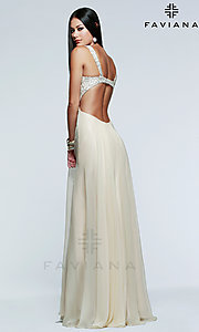 Image of floor length strapless sequin embellished bodice open back sweetheart gown Style: FA-7595 Back Image
