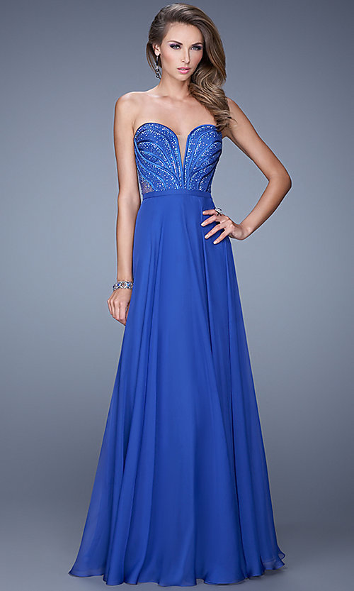 Image of Strapless Beaded Gown by La Femme 21054 Style: LF-21054 Front Image