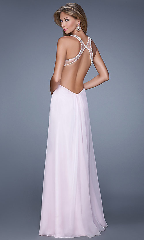 Image of long sheer high neck open back sleeveless dress Style: LF-21090 Back Image