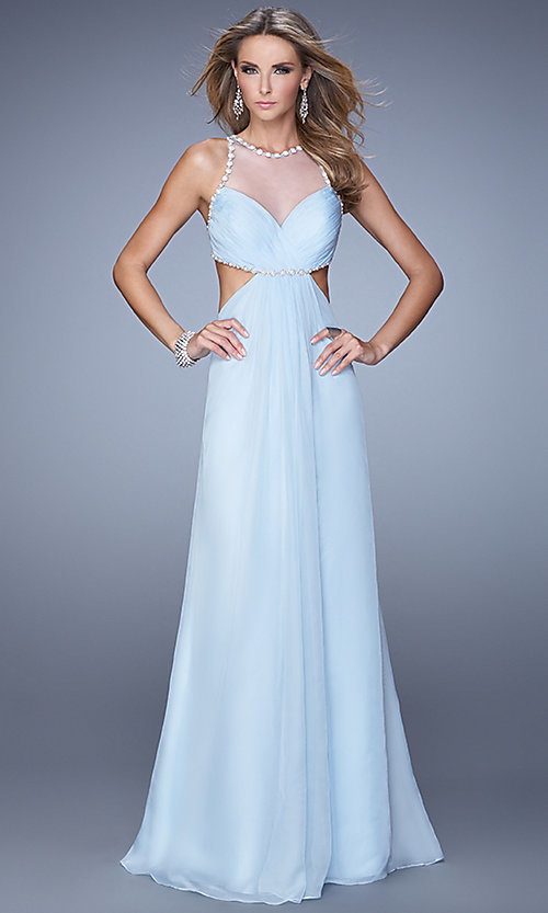 Image of long sheer high neck open back sleeveless dress Style: LF-21090 Front Image