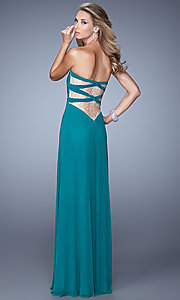 Image of floor length strapless sweetheart dress with sheer beaded back Style: LF-21232 Front Image