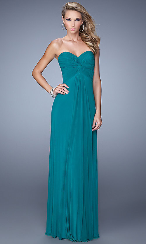Image of floor length strapless sweetheart dress with sheer beaded back Style: LF-21232 Back Image