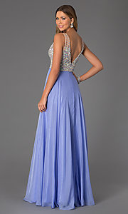 Image of floor length beaded sleeveless V-neck dress Style: JO-JVN-JVN20437 Back Image