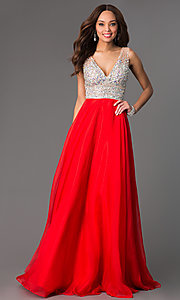 Image of floor length beaded sleeveless V-neck dress Style: JO-JVN-JVN20437 Detail Image 2