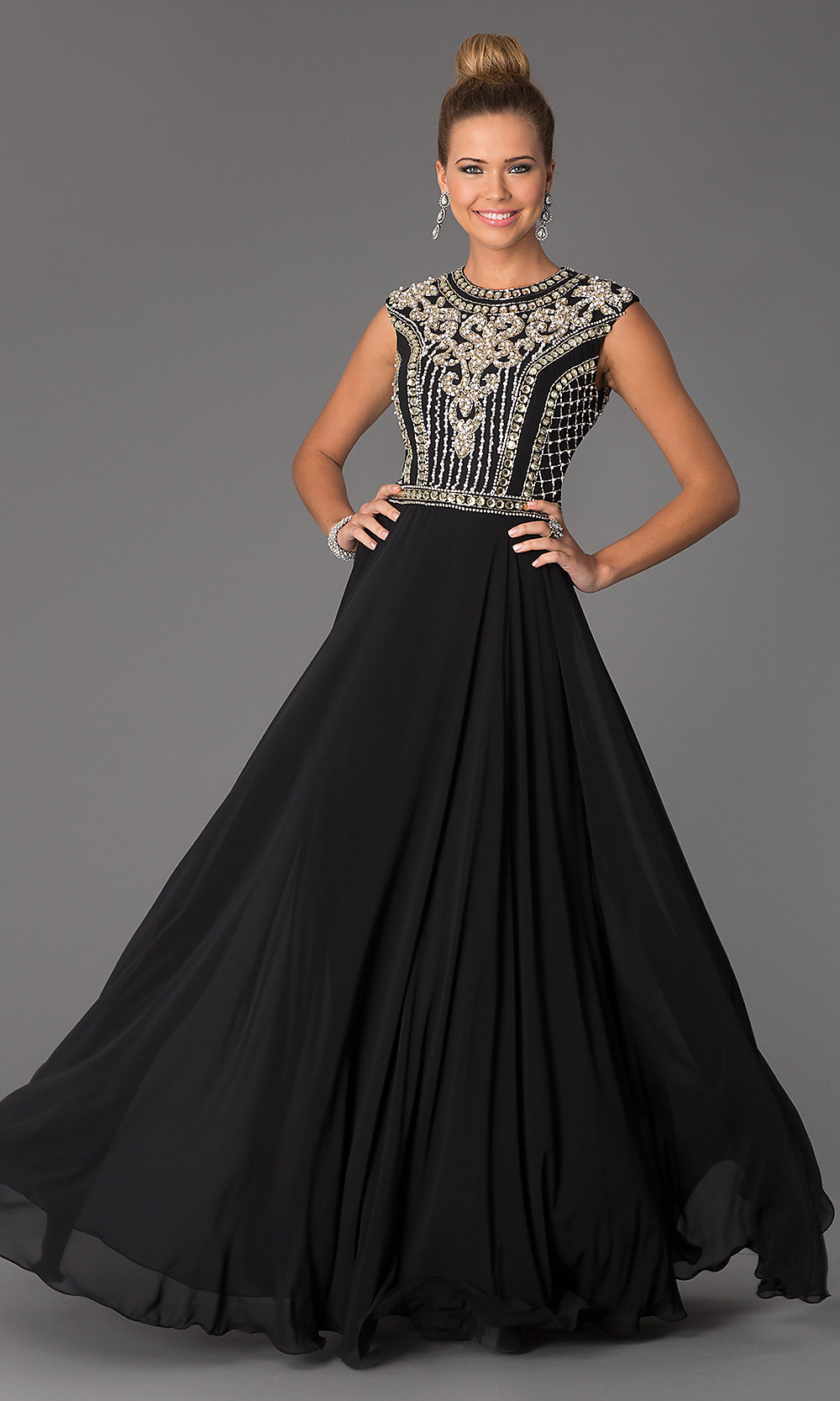 Long Beaded Prom Dress, JVN24413 by Jovani