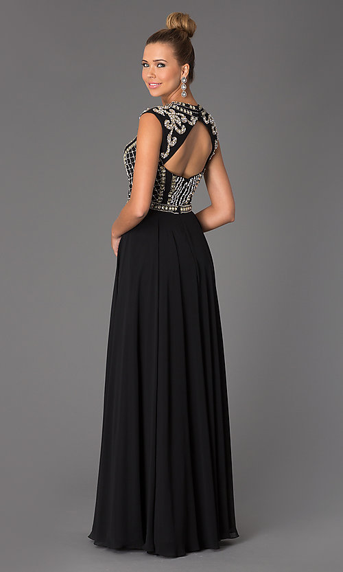 Image of Long Beaded Prom Dress JVN24413 Jovani Style: JO-JVN-JVN24413 Back Image