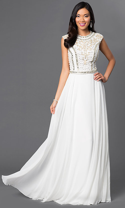 Image of Long Beaded Prom Dress JVN24413 Jovani Style: JO-JVN-JVN24413 Detail Image 1