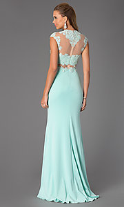 Image of Illusion and Lace Floor Length Dress JVN  Style: JO-JVN-JVN24404 Back Image