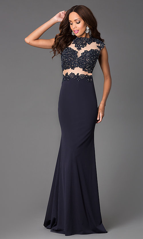 Image of Illusion and Lace Floor Length Dress JVN  Style: JO-JVN-JVN24404 Front Image