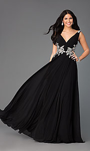 Image of Sleeveless Long V-Neck Gown JVN by Jovani Style: JO-JVN-JVN99401 Front Image