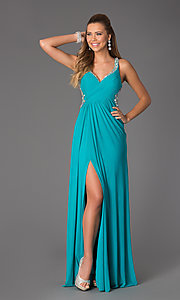Image of Ruched Top V-Neck Sleeveless Long Dress Style: JO-JVN-JVN94375 Detail Image 2