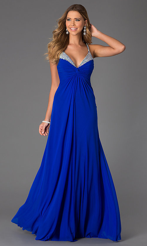 Image of Sleeveless Low Cut Prom Dress Style: JO-JVN-JVN20405 Front Image