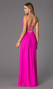 Image of long strapless sheer-back dress by JVN by Jovani Style: JO-JVN-JVN21713 Back Image