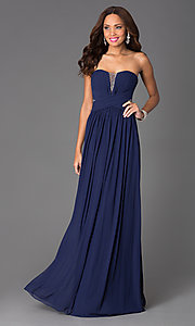 Long Strapless Sheer-Back Dress by JVN by Jovani