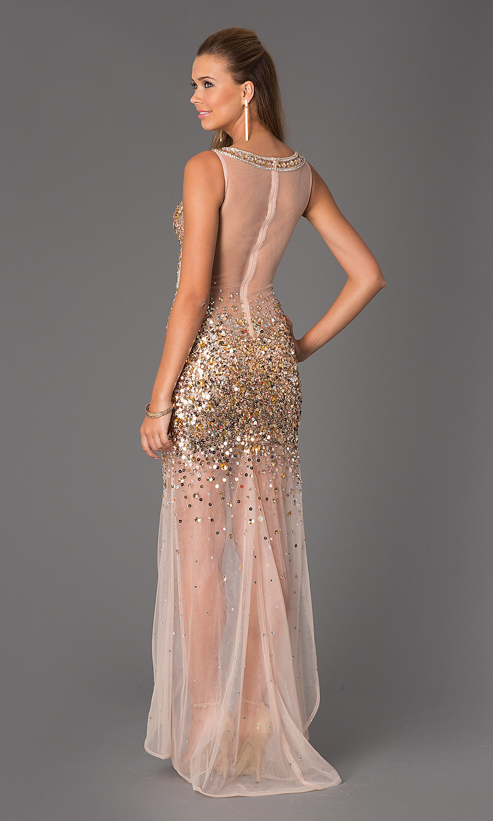 Sexy Sheer Beaded JVN by Jovani Prom Dress