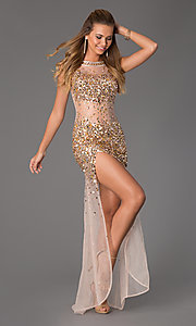 Image of Sheer Beaded Prom Dress JVN by Jovani Style: JO-JVN-JVN21738 Front Image