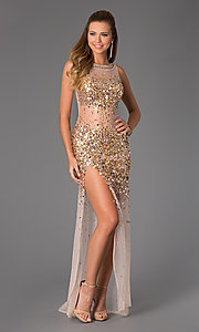 Image of Sheer Beaded Prom Dress JVN by Jovani Style: JO-JVN-JVN21738 Detail Image 1