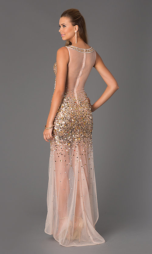 Image of Sheer Beaded Prom Dress JVN by Jovani Style: JO-JVN-JVN21738 Back Image