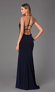 Image of Long Open Back Dress from JVN by Jovani Style: JO-JVN-JVN21053 Back Image