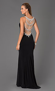 Sheer Jewel Embellished Long Sleeveless Dress