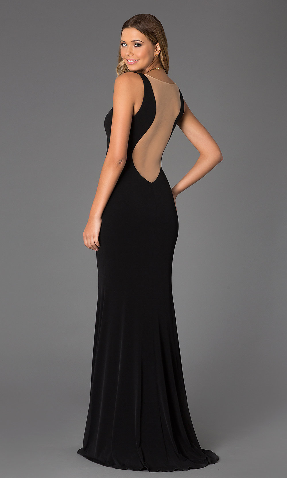 Sheer Back Low Cut Prom Gown JVN by Jovani