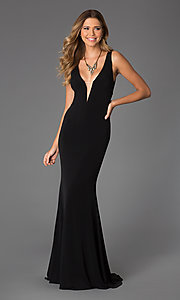 Sheer Back Sleeveless Low Cut Gown JVN by Jovani