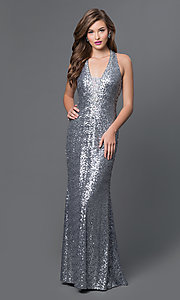 Image of floor-length sleeveless corset-back sequin dress Style: IT-2827 Front Image