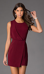 Image of short wrap skirt sleeveless cocktail dress Style: CCC-6C9588 Front Image