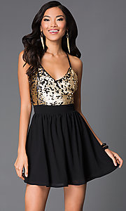 Short Spaghetti Strap V-Neck Sequin Dress