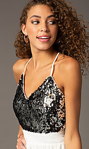 Image of Short Spaghetti Strap V-Neck Sequin Dress Style: CCC-6S5735 Detail Image 1