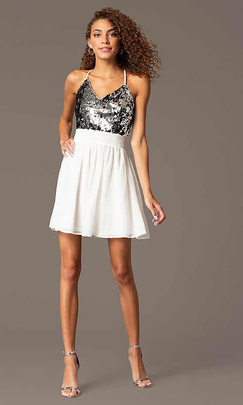 Image of Short Spaghetti Strap V-Neck Sequin Dress Style: CCC-6S5735 Front Image