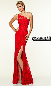 One Shoulder Long Lace Evening Gown by Mori Lee