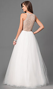 Image of Long Ivory Beaded High Neck Prom Dress Style: TI-P0181 Back Image