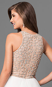 Image of Long Ivory Beaded High Neck Prom Dress Style: TI-P0181 Detail Image 2