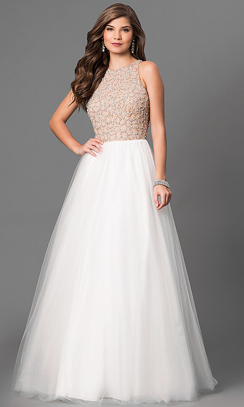 Image of Long Ivory Beaded High Neck Prom Dress Style: TI-P0181 Front Image
