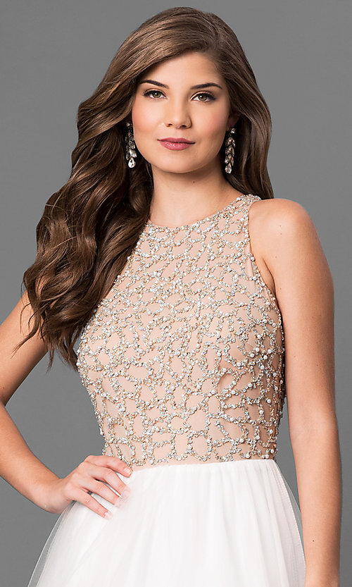 Image of Long Ivory Beaded High Neck Prom Dress Style: TI-P0181 Detail Image 1