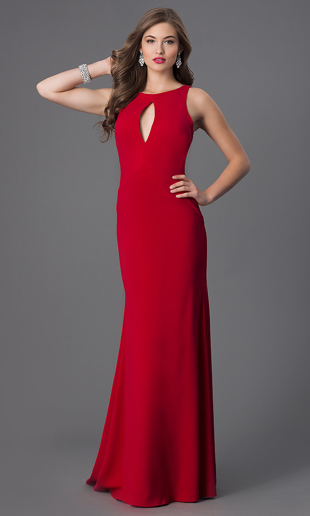 terani floor length red sleeveless dress with drape