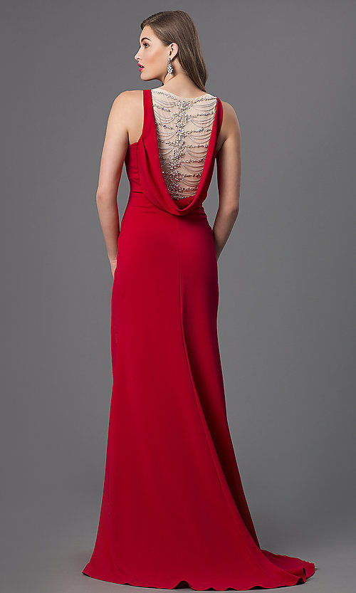 Image of Long Red Sleeveless Dress with Drape Back Style: TI-GL-DL230 Back Image